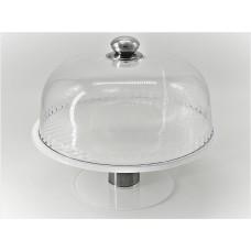 Підставка що обертається для торта з кришкою Ultra Glass PT-44 280 біла, розбірна