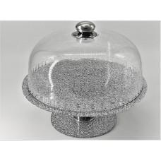 Підставка що обертається для торта з кришкою Ultra Glass PT-33 280 діамантова, розбірна